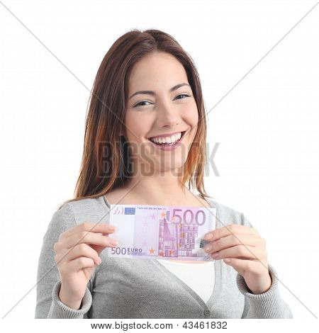 Happy Woman Showing A Five Hundred Euros Banknote