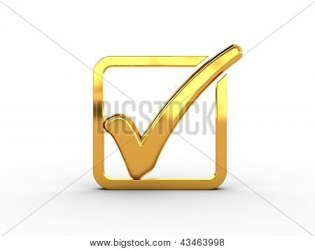 Golden rectangle with check mark