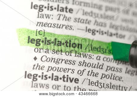 Legislation definition highlighted in green in the dictionary