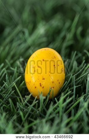 Small yellow easter egg nestled in the grass