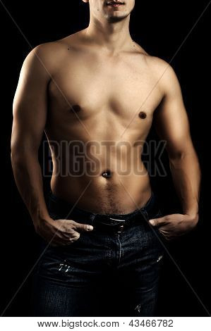 Handsome Young Man Wearing Jeans