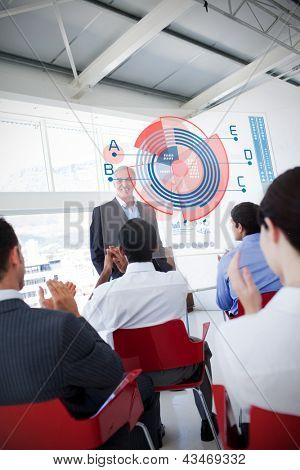 Business people clapping stakeholder standing in front of diagram interface showing statistics