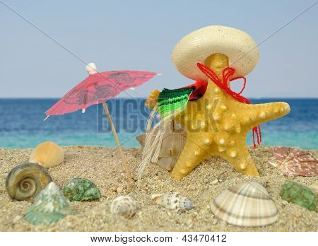 Starfish With Sombrero And Sun Umbrella
