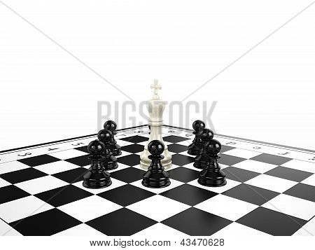 White Chess King Surrounded By Black Chess Pawns On A Chessboard