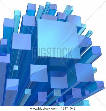 Blue Crystal Cube Abstract Background