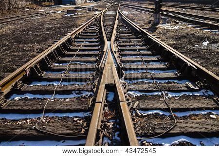 Rusted Railway In Outside