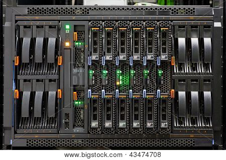 Network Server Rack Panel With Hard Disks