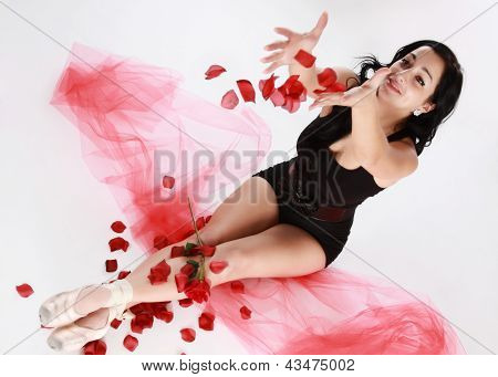 ballerine and fake petals