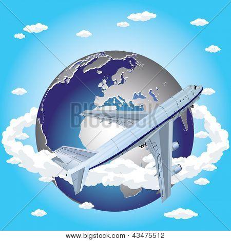 vector 3d passenger jet airplane travels around the world