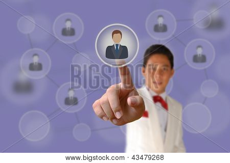 Businessman Pushing Human Button