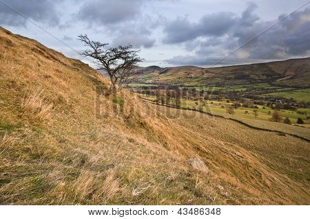 View Of Mam Tor From Lower Heights Of Kinder Scout In Peak District National Park