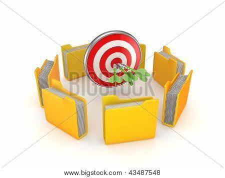 Yellow folders around dartboard.