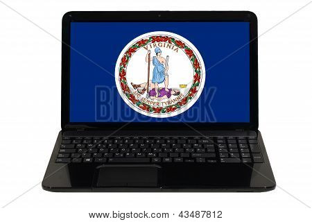 Laptop Computer With  Flag Of American State Of Virginia