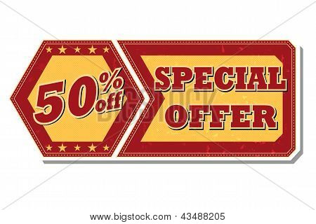 50 Percentages Off Special Offer - Retro Label