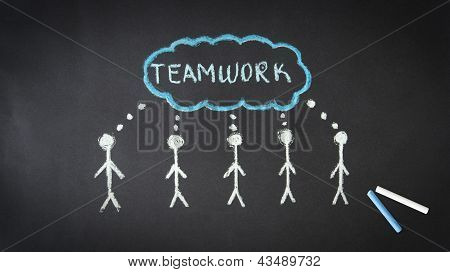 Chalk Teamwork Illustration