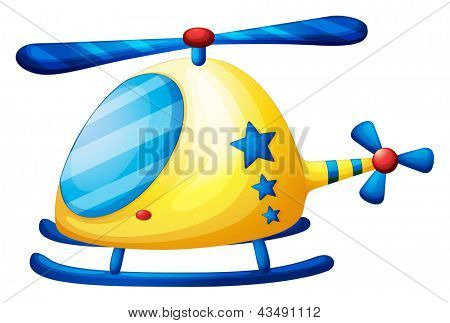 Illustration of a helicopter toy on a white background
