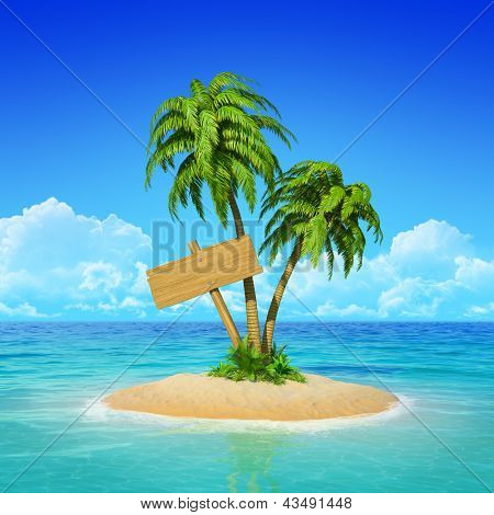 Wooden sign on desert tropical island with palm tree.  Concept for rest, holidays, resort, travel.