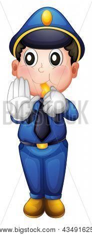 Illustration of a traffic enforcer on a white background