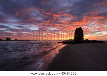 Shag rock at sunrise, Christchurch, New Zealand