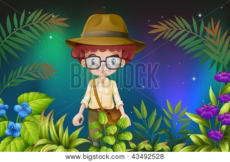 Illustration of a boy with an eyeglass and a hat