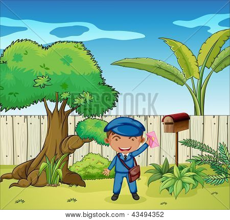 Illustration of a mailman near the wooden mailbox