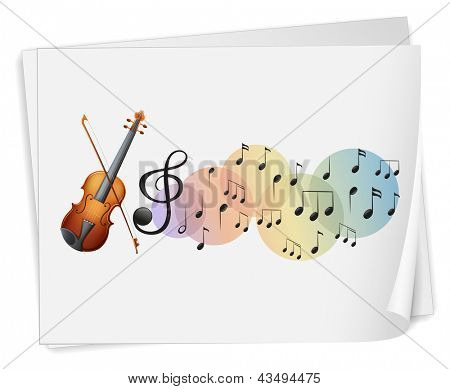 Illustration of a violen printed on a paper with musical notes on a white background