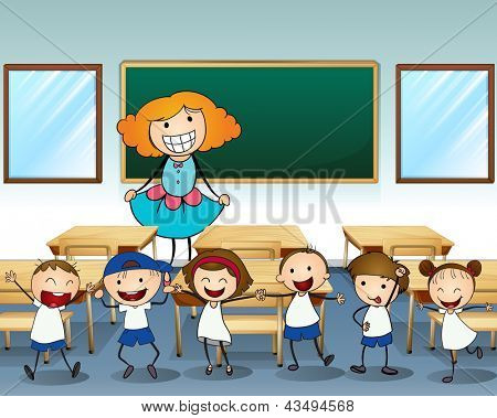 Illustration of a teacher and her students