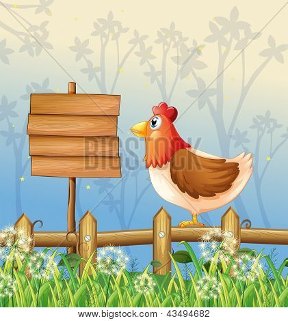 Illustration of a hen above a wooden fence facing a wooden signboard