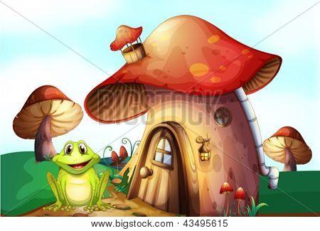 Illustration of a frog beside a mushroom house