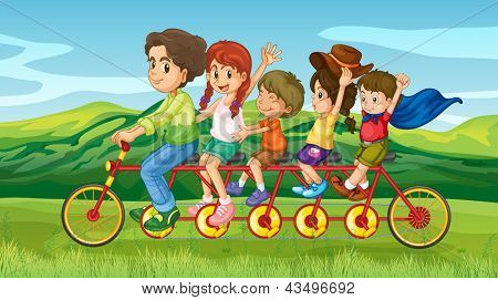 Illustration of a man riding a bike with four kids