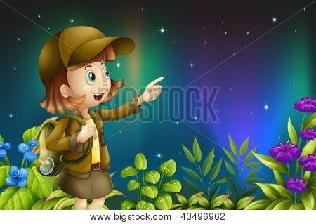 Ilustração de uma menina em uma floresta tropical