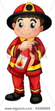 Illustration of a fireman holding a fire extinguisher on a white background