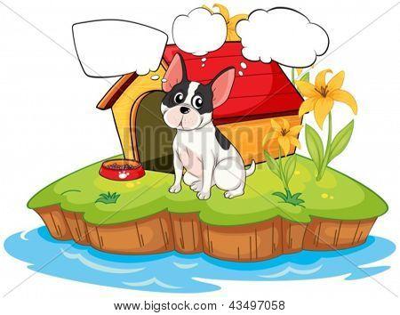 Ilustração de um cão ao lado de uma casinha de cachorro com textos explicativos de vazios em um fundo branco