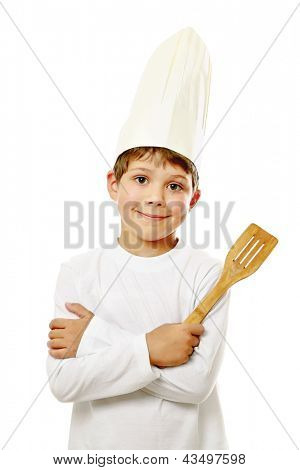 A little cook in uniform isolated on white background