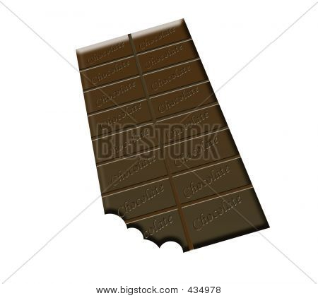 A Bar Of Chocolate With A Bite Taken From