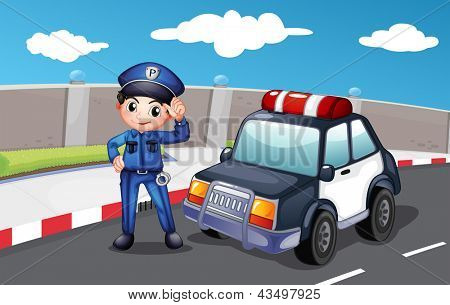 Illustration of a police officer at the street