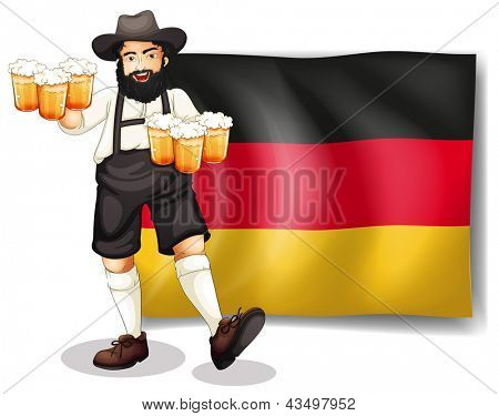 Illustration of a man holding a beer in front of a flag on a white background