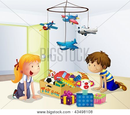 Ilustração de um menino e uma menina jogando dentro de casa