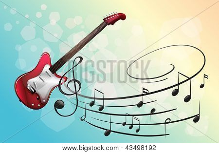 Illustration of a red electric guitar with musical notes