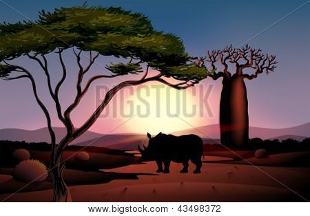 Illustration of a sunset scenery with a four-legged animal