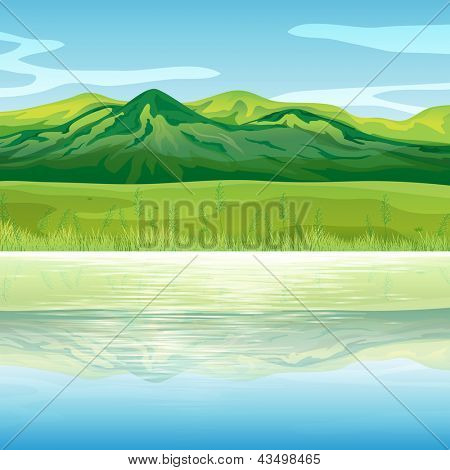 Illustration of a mountain across the lake
