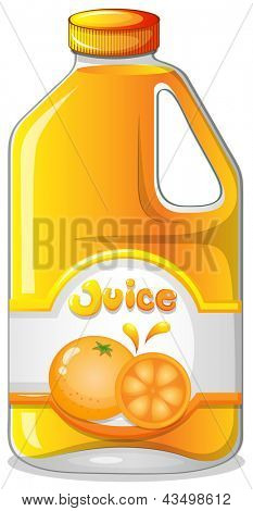 Illustration of an orange juice in a gallon on a white background