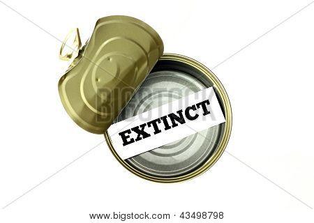 Extinction Concept: Extinct Written Inside Empty Can