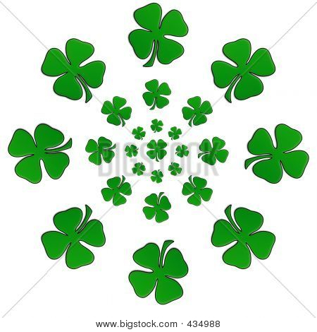Irish Shamrock In A Circular Shape With Centre Shamrock