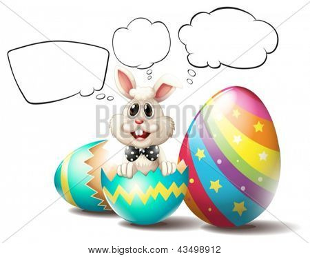 Illustration of a bunny inside a cracked egg with empty callouts on a white background