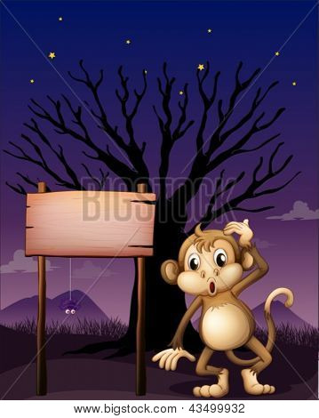 Illustration of a signboard with a monkey