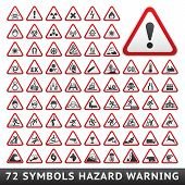 stock photo of biohazard symbol  - Triangular Warning Hazard Symbols - JPG