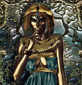 pic of interpreter  - This is a conceptual interpretation of an exorbitantly attired ancient Egyptian queen who had an extensive knowledge about metals - JPG