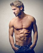 foto of beard  - handsome muscular man - JPG