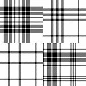 Scottish traditional tartan fabric seamless pattern set in black and white, vector